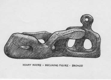Thumbnail image of Drawing by Peter Sumpter for exhibition information panel: Henry Moore, Reclining Female Figure - 125 Years In The Making