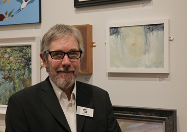 Thumbnail image of Dave Pidgeon in front of 'Girl in Constant Fog' - LSA Annual Exhibition 2017 Prize Winners