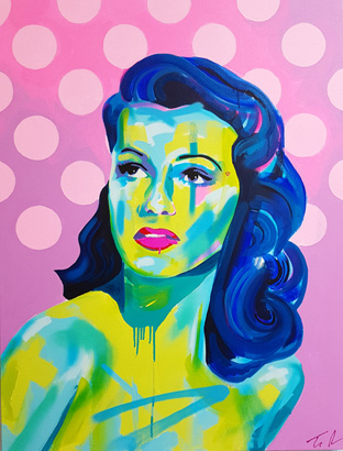 Thumbnail image of Tim Fowler, 'Rita Hayworth', [framed] - Stars - Art Auction Evening