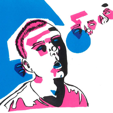 Thumbnail image of Tristan Angus, Leicester College, 'Self Portrait', screenprint, winner of - Little Selves - Student Prizes