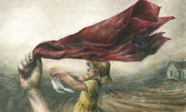 Thumbnail image of Becky Hayley, Oakham School, 'The Red Scarf', watercolour & pencil, - Little Selves - Student Prizes