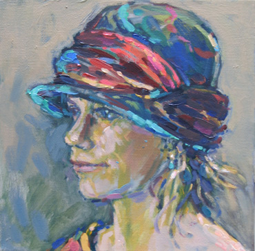Thumbnail image of Sue Sansome RBSA - LSA member - 'Polly in my cloche hat' - Little Selves - Browse Artworks A-Z