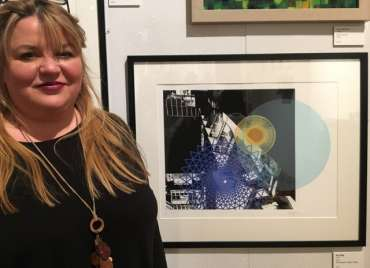 Thumbnail image of Sue Clegg with her work at The Open Exhibition - The Open Exhibition