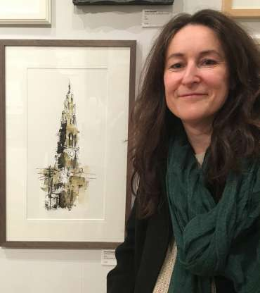 Thumbnail image of Emma Fitzpatrickwith her work at The Open Exhibition - The Open Exhibition
