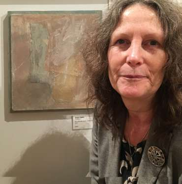 Thumbnail image of Jacqui Gallonwith her work at The Open Exhibition - The Open Exhibition