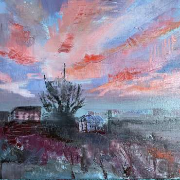Thumbnail image of Julie Manson, 'Salmon Sky and Allotment Buildings' - Inspired | April