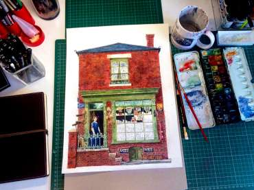 Thumbnail image of Robert Hewson, 'Beck Bugby's Shop' - work in progress - Inspired | April