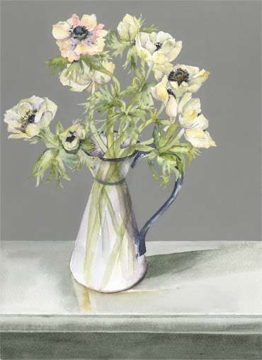 Thumbnail image of Vivienne Cawson, 'Anemones in a Blue and White Jug' - Inspired | April