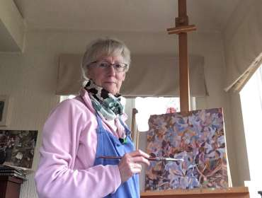Thumbnail image of Rhododendron- work in progress and Lesley Brooks working in her home studio - Inspired |  May