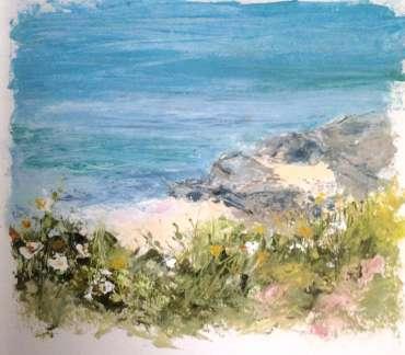 Thumbnail image of Vivien Blackburn, 'Near Treaddur Bay'oil in sketchbook, plein air - Inspired   June