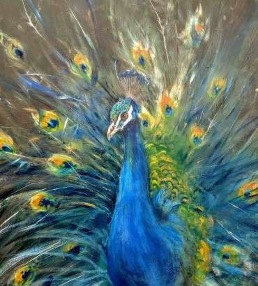 Thumbnail image of Linda Sharman, 'Peacock',  (work in progress) - Inspired | July