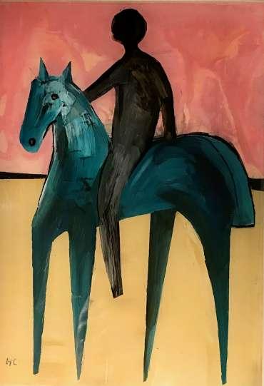 Thumbnail image of Henrietta Corbett, 'Blue Horse with Rider' - Inspired | November 2020