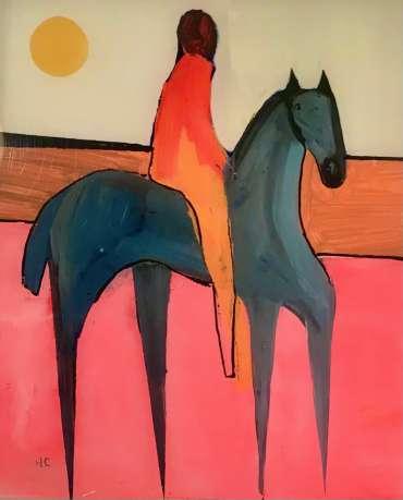 Thumbnail image of Henrietta Corbett, Grey Horse on Pink Land - Inspired | November 2020