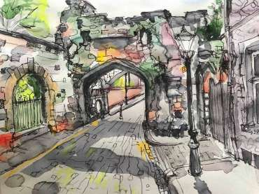 Thumbnail image of Toni Northcott (Leicestershire), 'Gateway Castle, Leicester' - 'Virtualsketch'  Walk in Leicester has global success