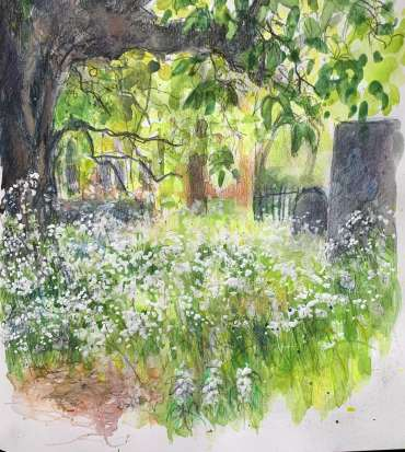 Thumbnail image of Vivien Blackburn (Leicester), St Mary de Castro Cemetery - 'Virtualsketch'  Walk in Leicester has global success