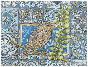 Thumbnail image of 10 | Maria Boyd | Wren on Blue Tiles - LSA Annual Exhibition 2021 | Catalogue A - C