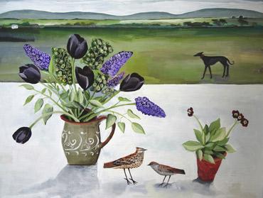 Black Tulip and Black Whippet by Angela Harding