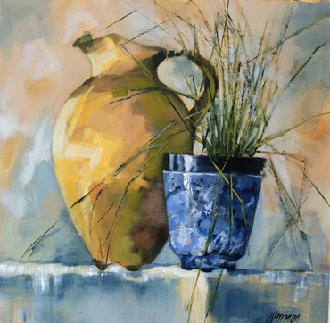 Thumbnail image of Blue and Brown Pot by Judy Merriman