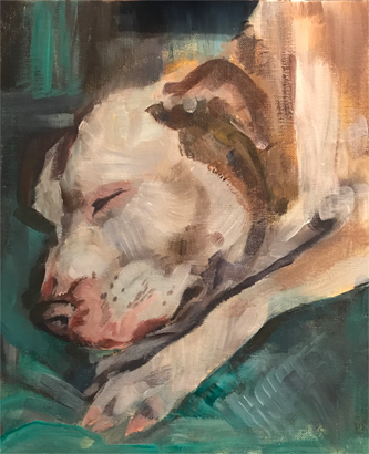 Thumbnail image of Sleeping Pit Bull Terrier by Julie Manson