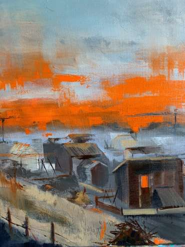 Fire, Sky and Tin Sheds by Julie Manson