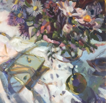 Thumbnail image of Net Curtain and Flowers by Lesley Brooks