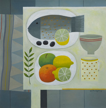 Grey Still Life with Fish by Reg Cartwright